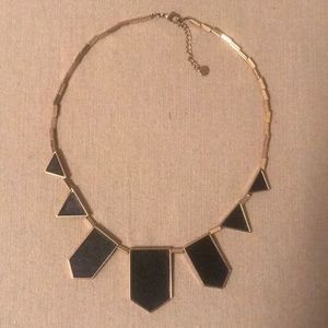 House of Harlow 1960 BLK Leather Station Necklace
